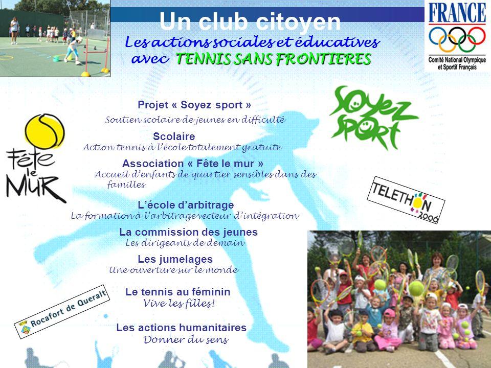 TENNIS SANS FRONTIERES Un club citoyen Les actions sociales et éducatives avec TENNIS SANS FRONTIERES Projet « Soyez sport » Soutien scolaire de jeune