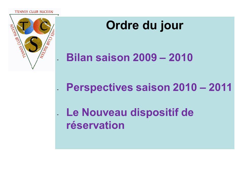 Ordre du jour - Bilan saison 2009 – 2010 - Perspectives saison 2010 – 2011 - Le Nouveau dispositif de réservation