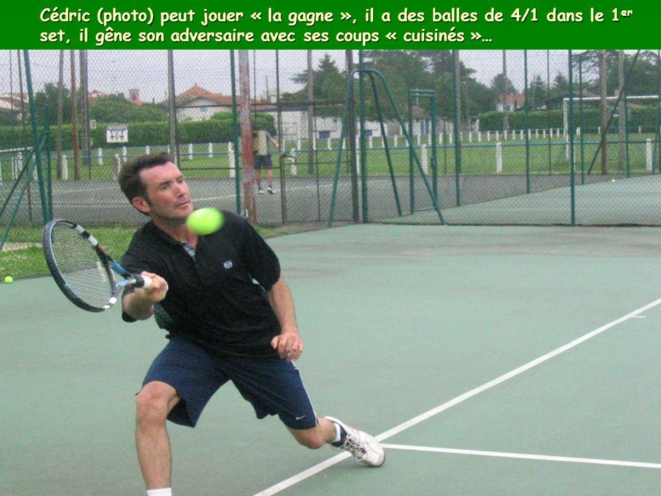 Mais Alexandre (photo) est solide et joue mieux que son classement ne peut le faire croire, il impose petit à petit son jeu et Cédric ne sait plus comment faire… il perd finalement 6/3-6/1…