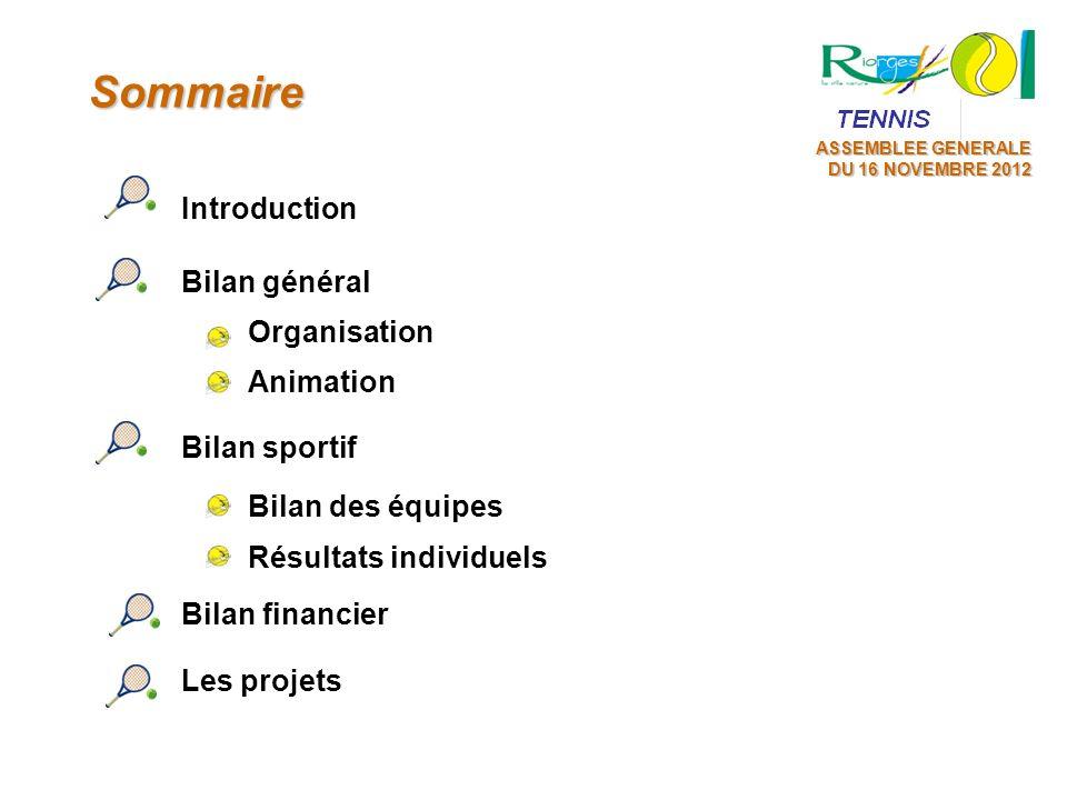 Sommaire Introduction Organisation Bilan général Animation Bilan sportif Bilan des équipes Résultats individuels Bilan financier Les projets