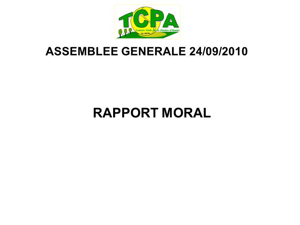 ASSEMBLEE GENERALE 24/09/2010 RAPPORT MORAL