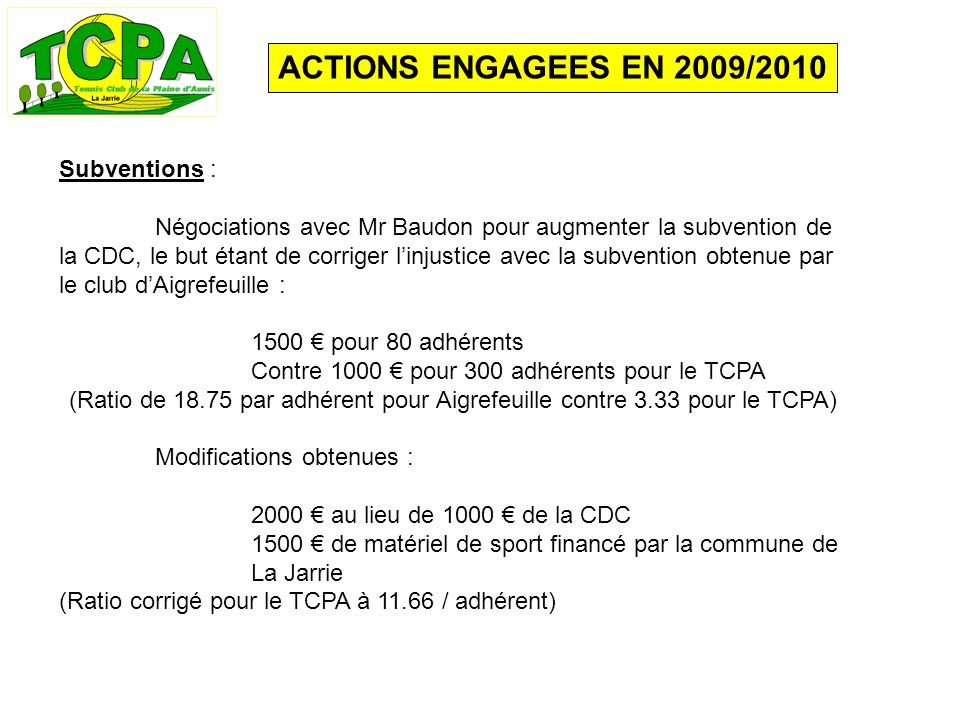 ACTIONS ENGAGEES EN 2009/2010 Subventions : Négociations avec Mr Baudon pour augmenter la subvention de la CDC, le but étant de corriger linjustice av