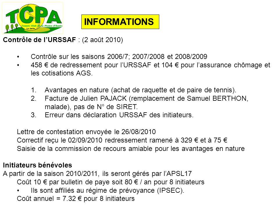 INFORMATIONS Contrôle de lURSSAF : (2 août 2010) Contrôle sur les saisons 2006/7; 2007/2008 et 2008/2009 458 de redressement pour lURSSAF et 104 pour lassurance chômage et les cotisations AGS.