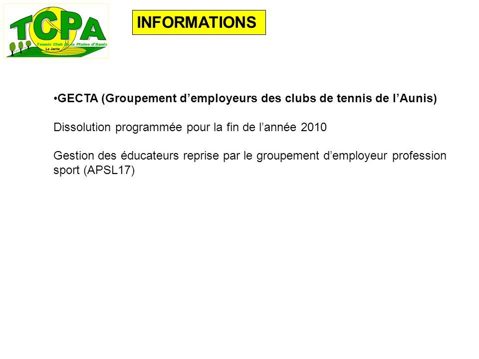INFORMATIONS GECTA (Groupement demployeurs des clubs de tennis de lAunis) Dissolution programmée pour la fin de lannée 2010 Gestion des éducateurs reprise par le groupement demployeur profession sport (APSL17)