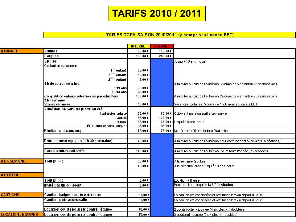 TARIFS 2010 / 2011