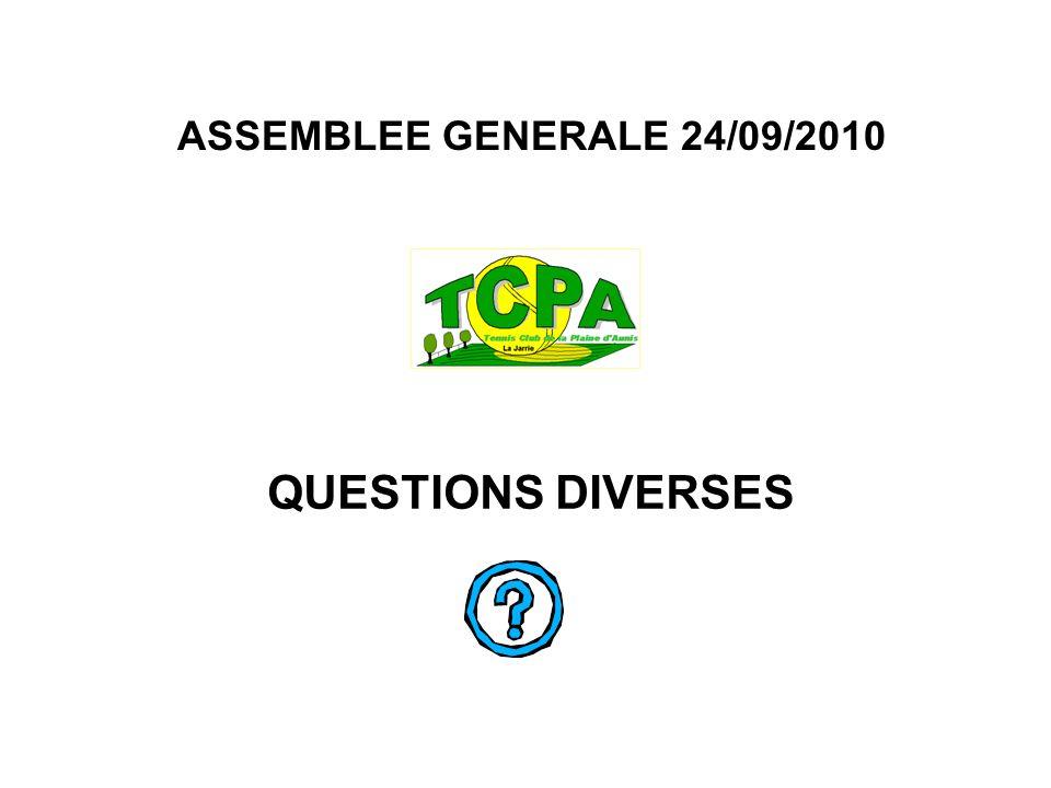 ASSEMBLEE GENERALE 24/09/2010 QUESTIONS DIVERSES