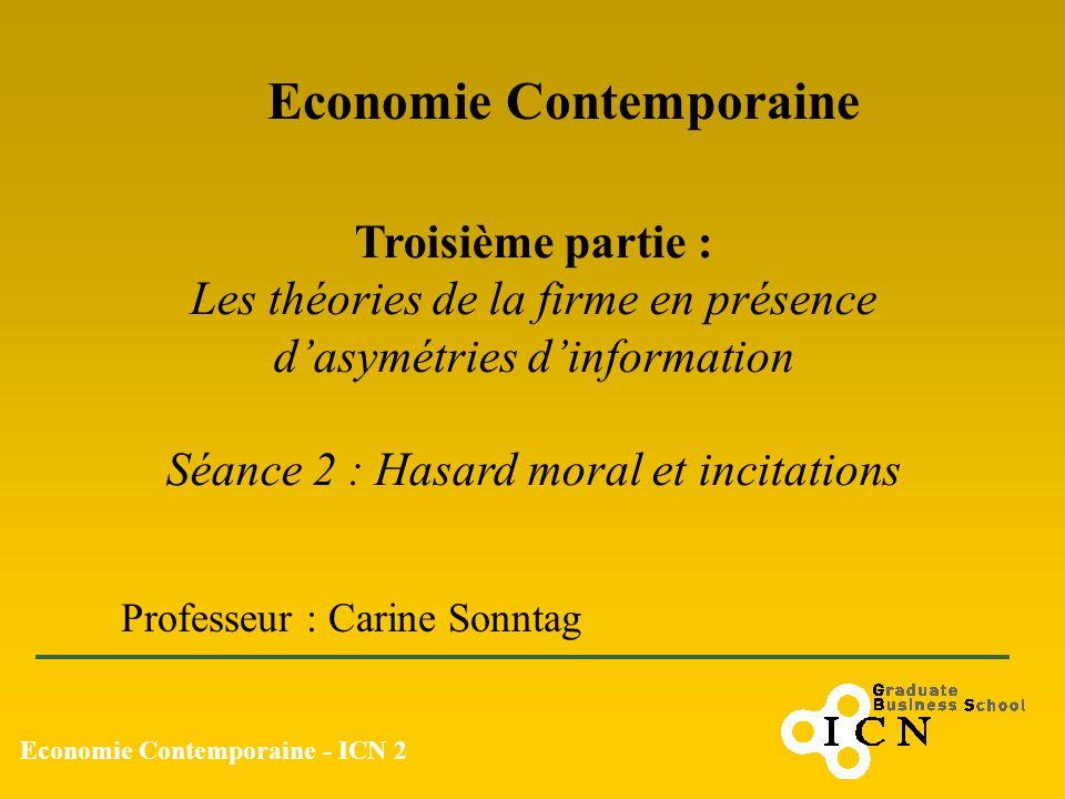 Economie Contemporaine - ICN 2 Economie Contemporaine Professeur : Carine Sonntag Troisième partie : Les théories de la firme en présence dasymétries