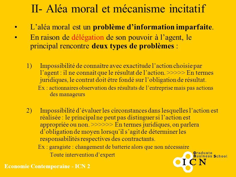 Economie Contemporaine - ICN 2 II- Aléa moral et mécanisme incitatif Laléa moral est un problème dinformation imparfaite. En raison de délégation de s