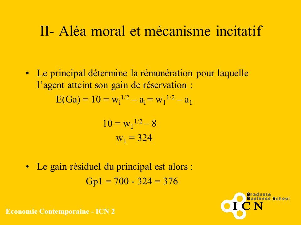 Economie Contemporaine - ICN 2 II- Aléa moral et mécanisme incitatif Le principal détermine la rémunération pour laquelle lagent atteint son gain de r