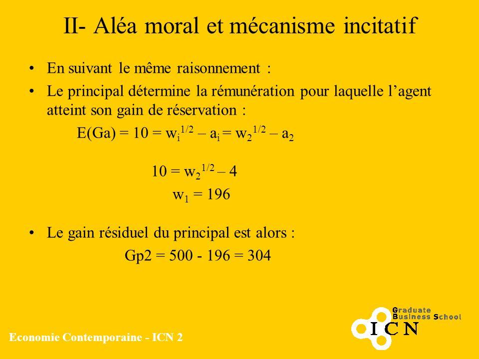 Economie Contemporaine - ICN 2 II- Aléa moral et mécanisme incitatif En suivant le même raisonnement : Le principal détermine la rémunération pour laq