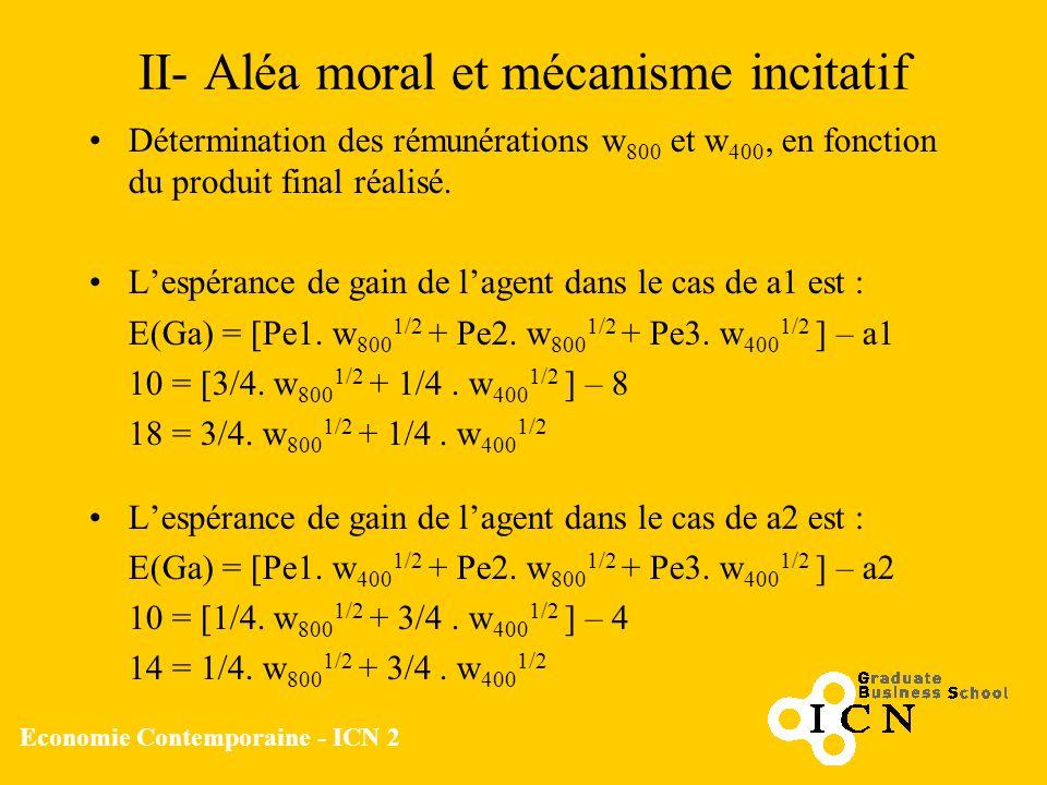 Economie Contemporaine - ICN 2 II- Aléa moral et mécanisme incitatif Détermination des rémunérations w 800 et w 400, en fonction du produit final réal