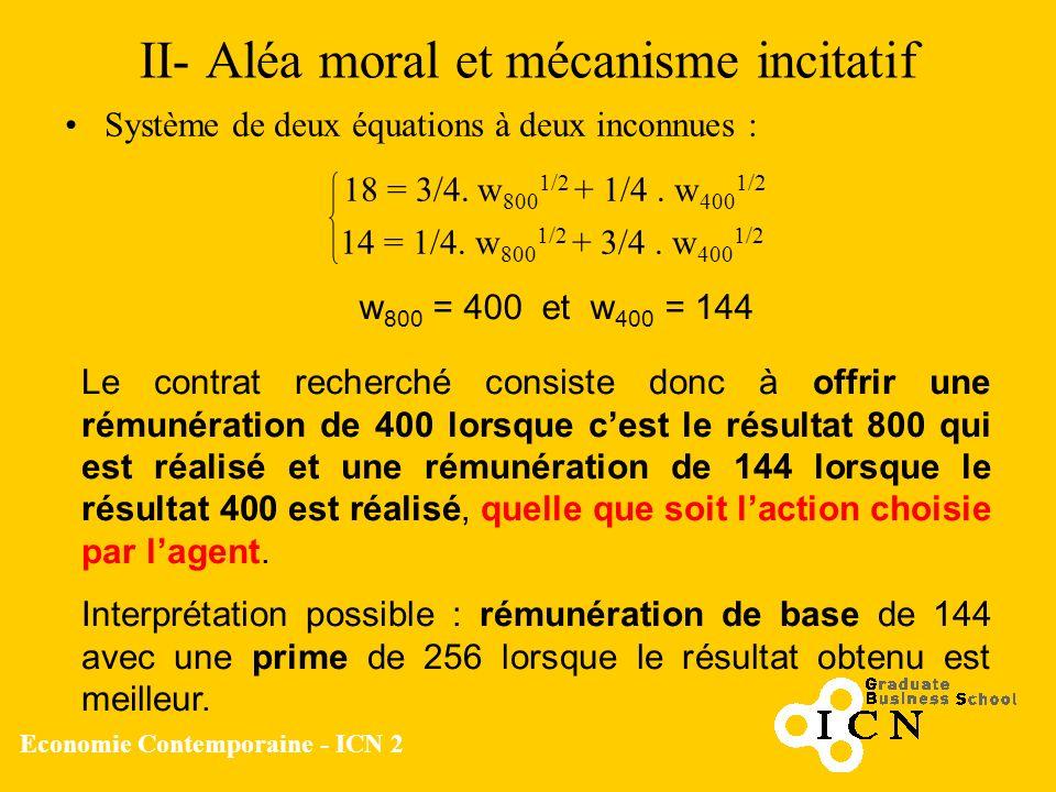 Economie Contemporaine - ICN 2 II- Aléa moral et mécanisme incitatif Système de deux équations à deux inconnues : 18 = 3/4. w 800 1/2 + 1/4. w 400 1/2
