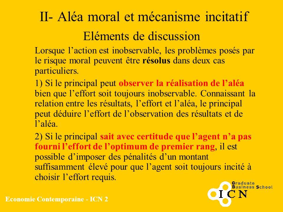 Economie Contemporaine - ICN 2 II- Aléa moral et mécanisme incitatif Eléments de discussion Lorsque laction est inobservable, les problèmes posés par