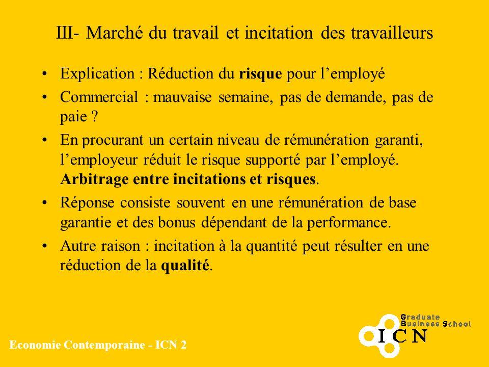 Economie Contemporaine - ICN 2 III- Marché du travail et incitation des travailleurs Explication : Réduction du risque pour lemployé Commercial : mauv