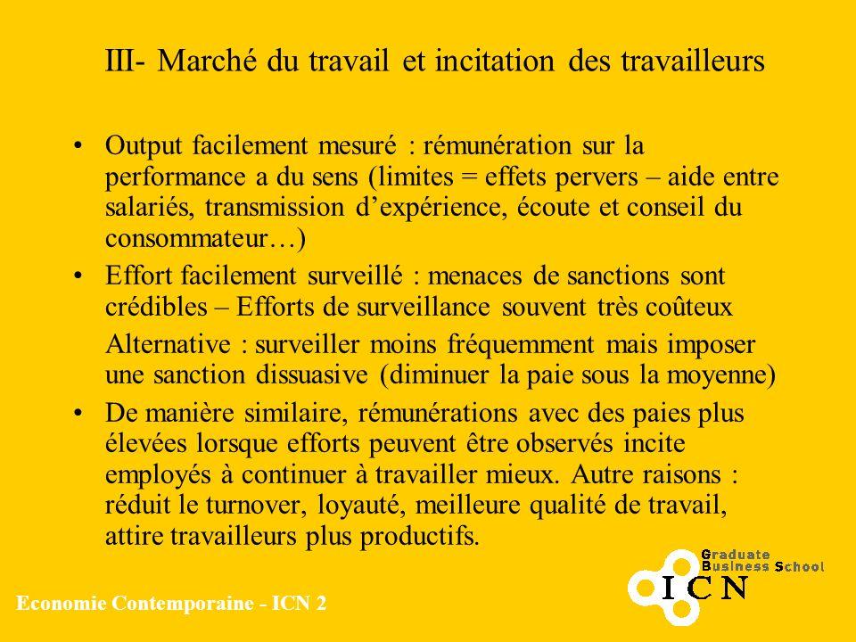 Economie Contemporaine - ICN 2 III- Marché du travail et incitation des travailleurs Output facilement mesuré : rémunération sur la performance a du s