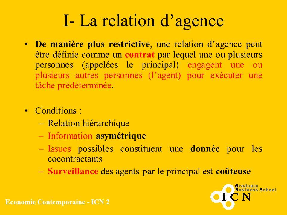 Economie Contemporaine - ICN 2 I- La relation dagence De manière plus restrictive, une relation dagence peut être définie comme un contrat par lequel