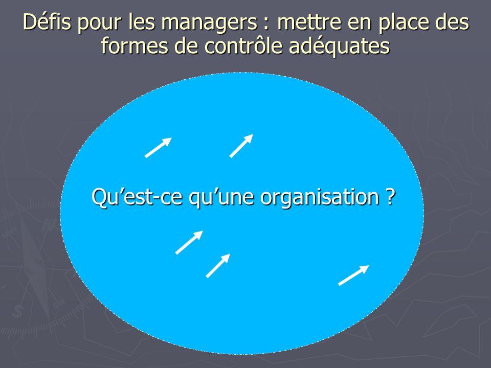 Défis pour les managers : mettre en place des formes de contrôle adéquates Quest-ce quune organisation ?
