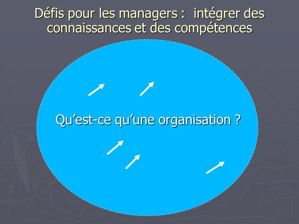 Défis pour les managers : intégrer des connaissances et des compétences Quest-ce quune organisation ?