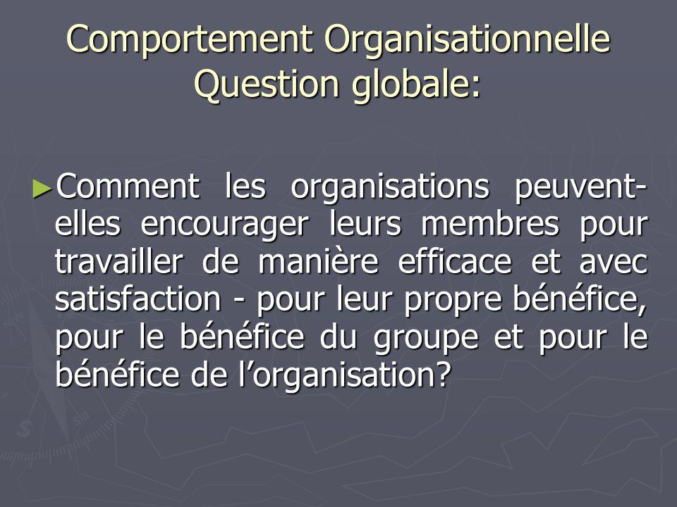 Comportement Organisationnelle Question globale: Comment les organisations peuvent- elles encourager leurs membres pour travailler de manière efficace