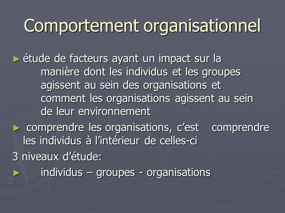 Comportement organisationnel étude de facteurs ayant un impact sur la manière dont les individus et les groupes agissent au sein des organisations et