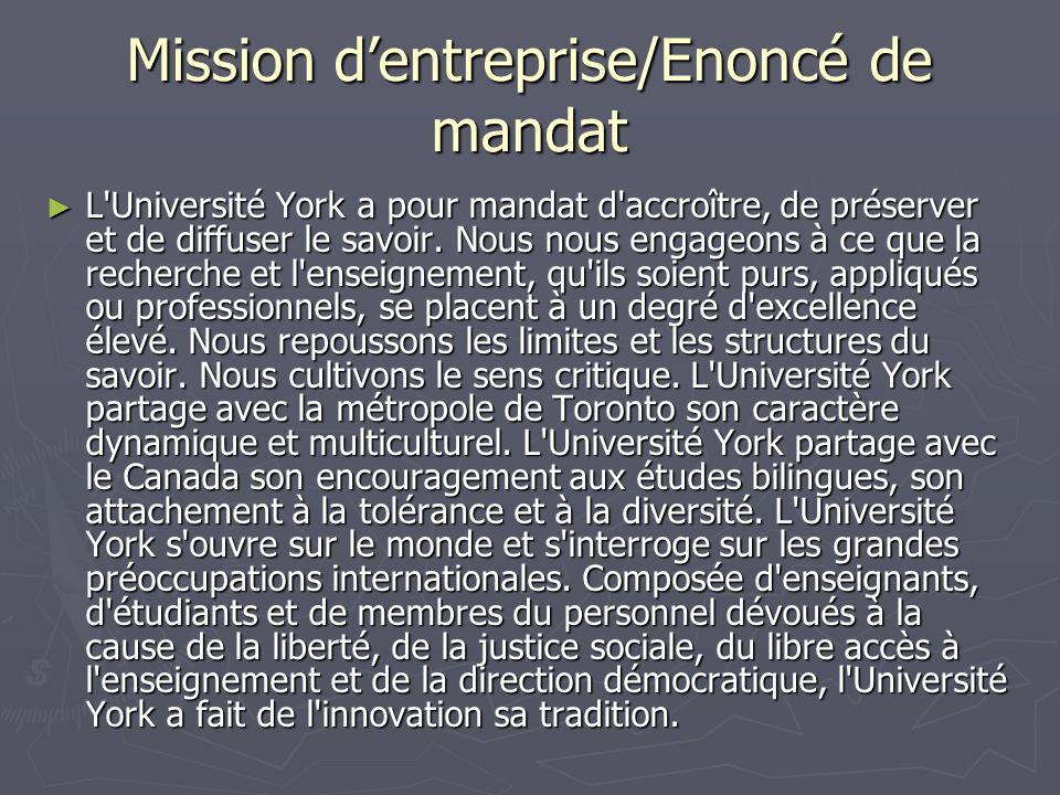 Mission dentreprise/Enoncé de mandat L'Université York a pour mandat d'accroître, de préserver et de diffuser le savoir. Nous nous engageons à ce que