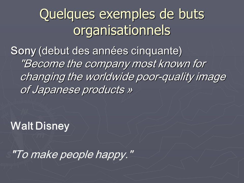 Quelques exemples de buts organisationnels Sony (debut des années cinquante)