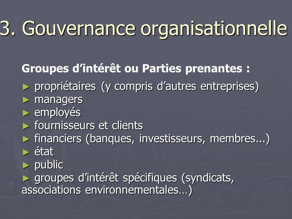 3. Gouvernance organisationnelle Groupes dintérêt ou Parties prenantes : propriétaires (y compris dautres entreprises) propriétaires (y compris dautre