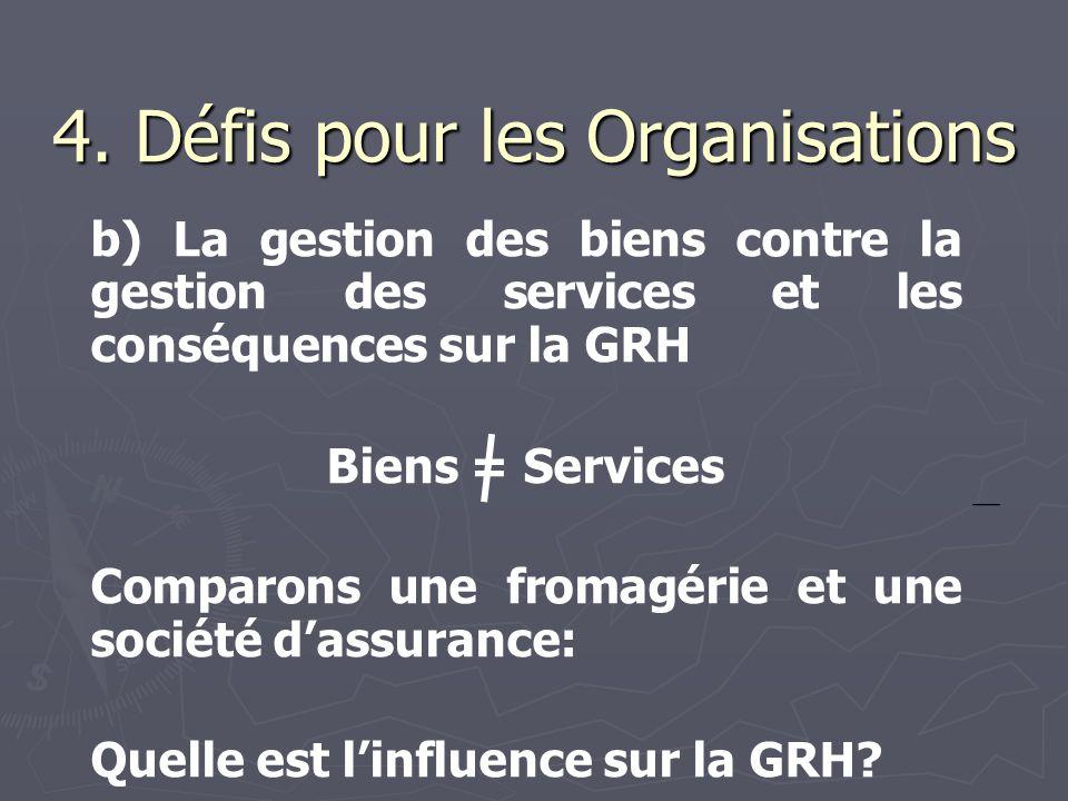 4. Défis pour les Organisations b) La gestion des biens contre la gestion des services et les conséquences sur la GRH Biens = Services Comparons une f