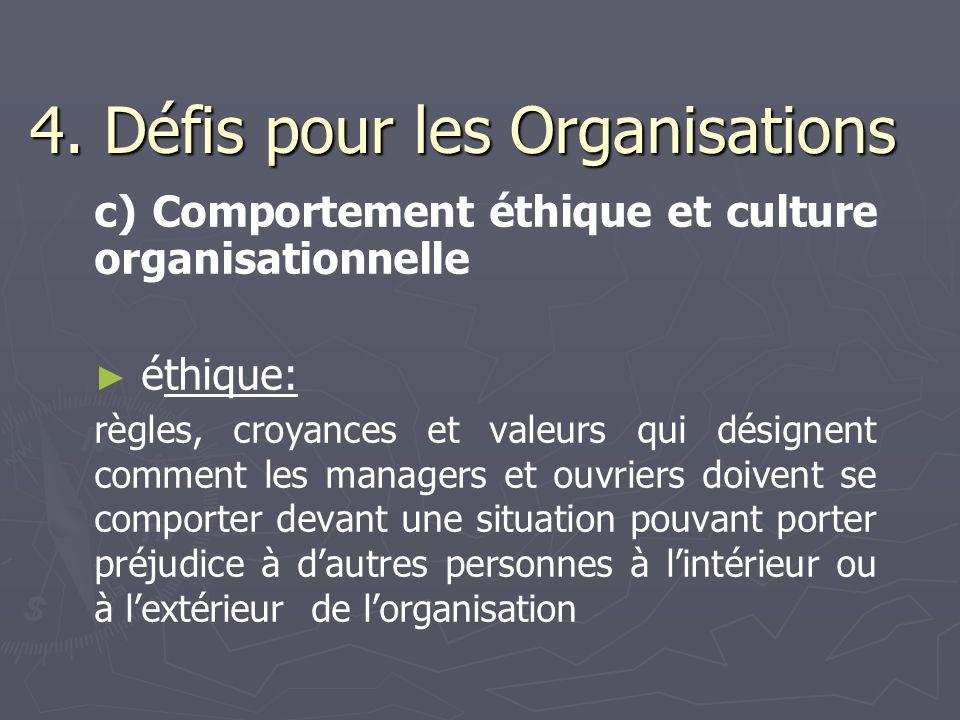 4. Défis pour les Organisations c) Comportement éthique et culture organisationnelle éthique: règles, croyances et valeurs qui désignent comment les m