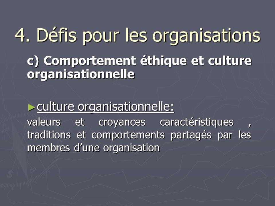 4. Défis pour les organisations c) Comportement éthique et culture organisationnelle culture organisationnelle: culture organisationnelle: valeurs et