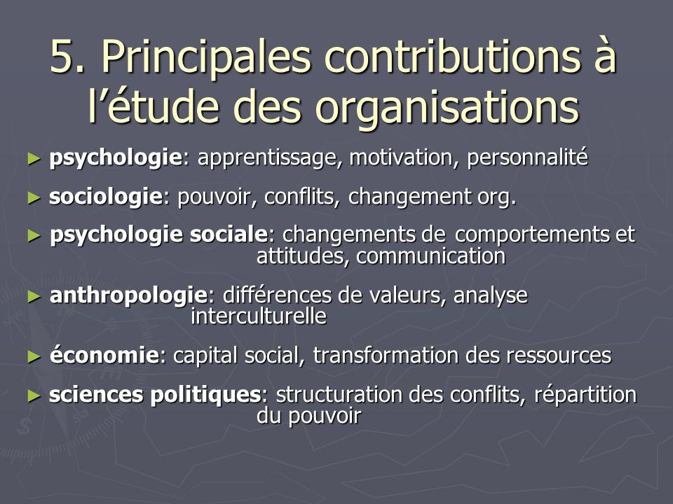 5. Principales contributions à létude des organisations psychologie: apprentissage, motivation, personnalité psychologie: apprentissage, motivation, p