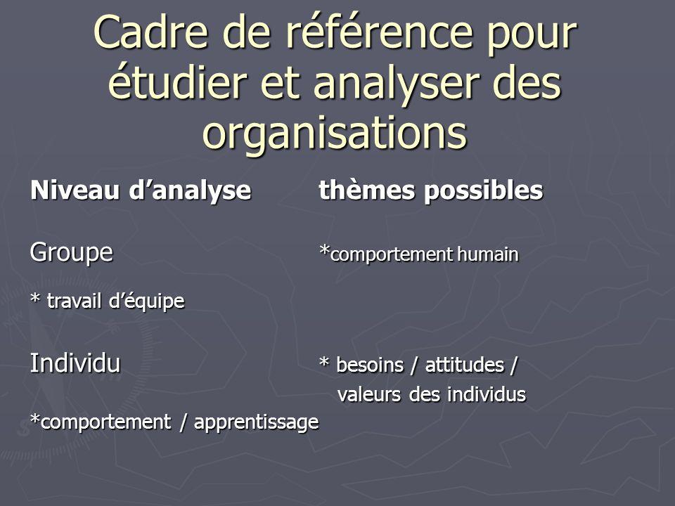 Cadre de référence pour étudier et analyser des organisations Niveau danalysethèmes possibles Groupe * comportement humain * travail déquipe Individu