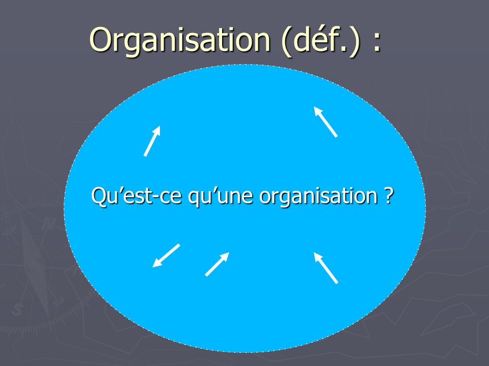 Organisation (déf.) : Quest-ce quune organisation ?
