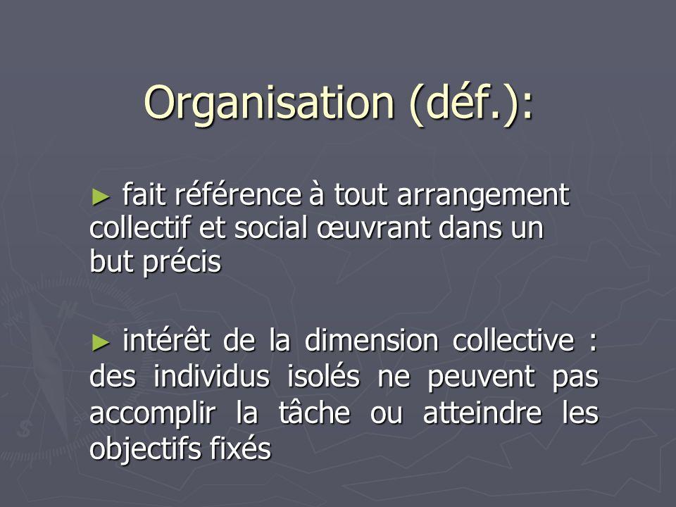 Organisation (déf.): fait référence à tout arrangement collectif et social œuvrant dans un but précis fait référence à tout arrangement collectif et s