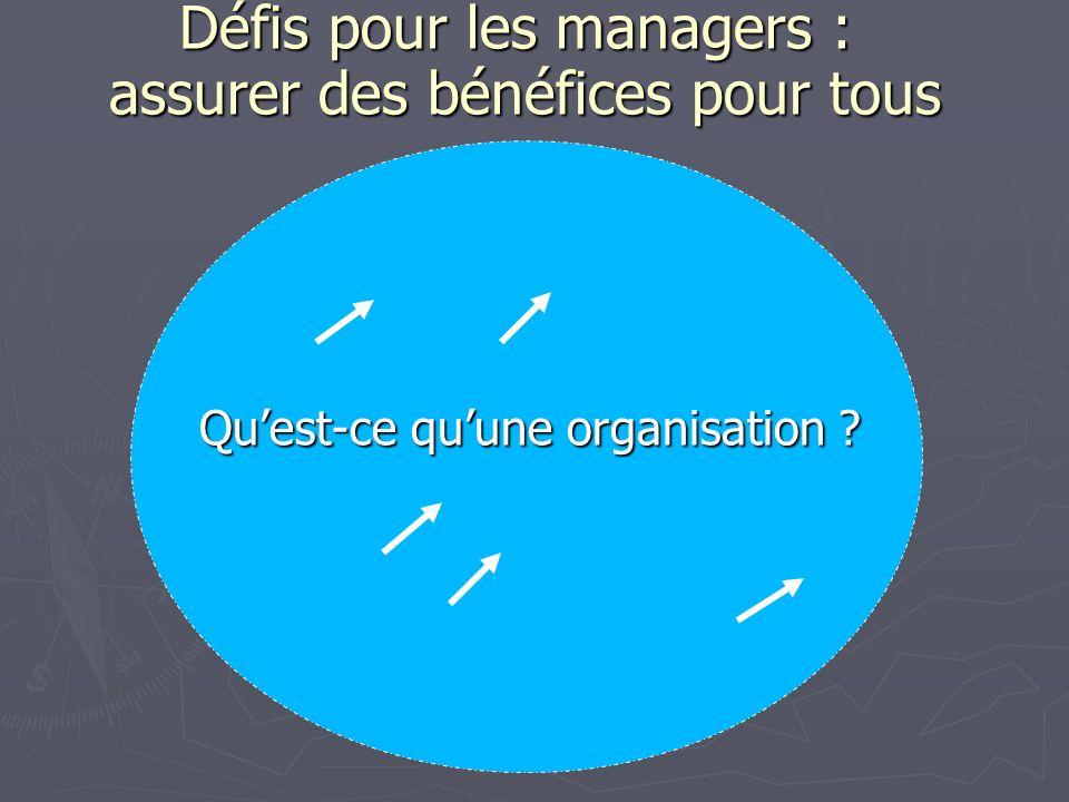 Défis pour les managers : assurer des bénéfices pour tous Quest-ce quune organisation ?