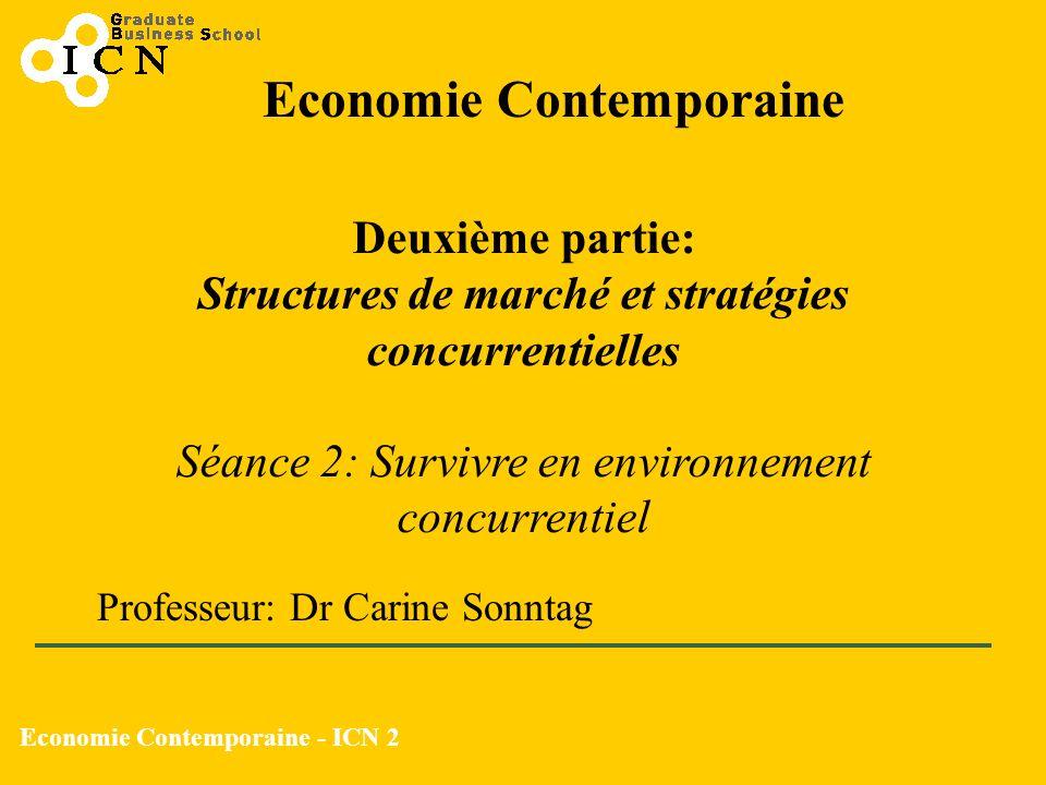 Economie Contemporaine - ICN 2 Economie Contemporaine Deuxième partie: Structures de marché et stratégies concurrentielles Séance 2: Survivre en envir