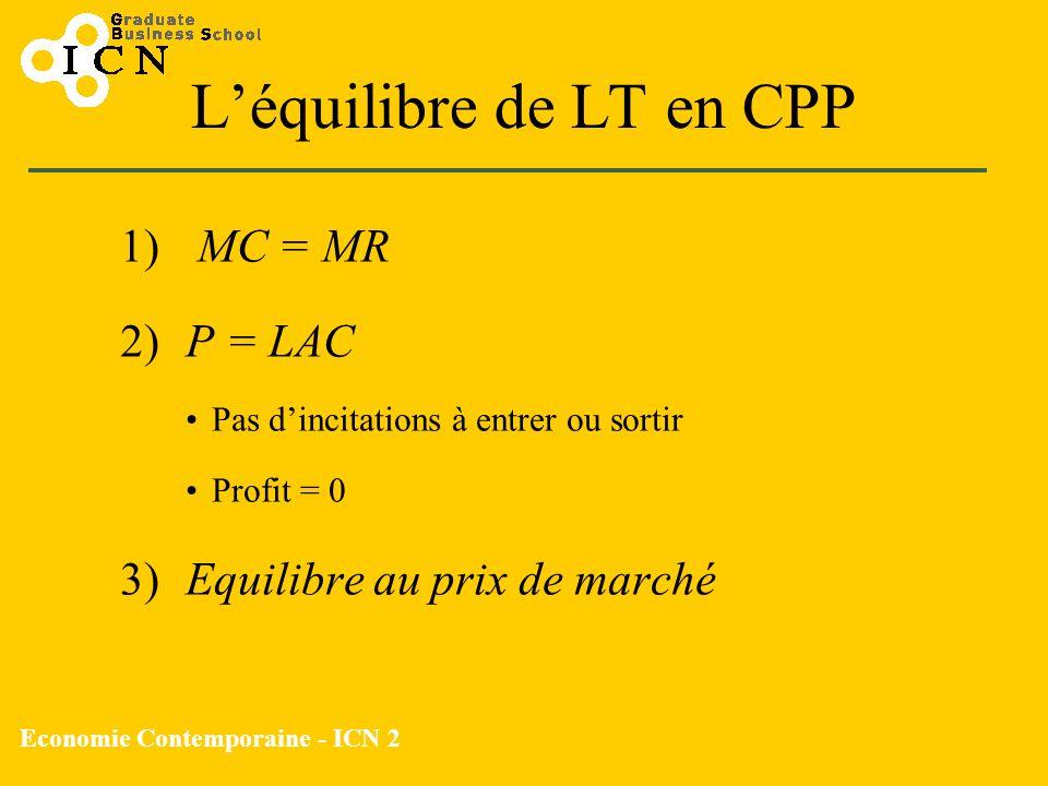 Economie Contemporaine - ICN 2 Léquilibre de LT en CPP 1) MC = MR 2)P = LAC Pas dincitations à entrer ou sortir Profit = 0 3) Equilibre au prix de mar