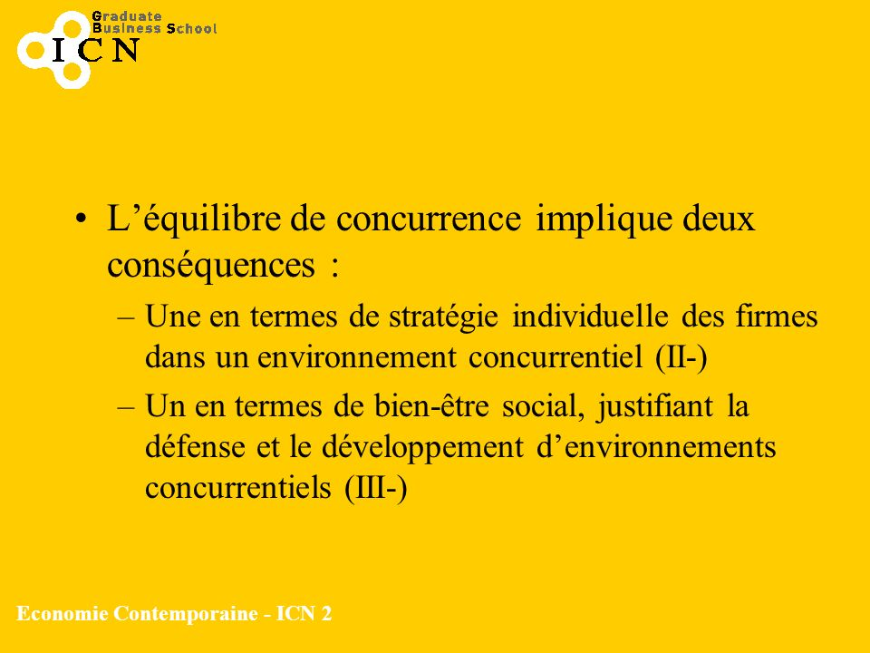 Economie Contemporaine - ICN 2 Léquilibre de concurrence implique deux conséquences : –Une en termes de stratégie individuelle des firmes dans un envi