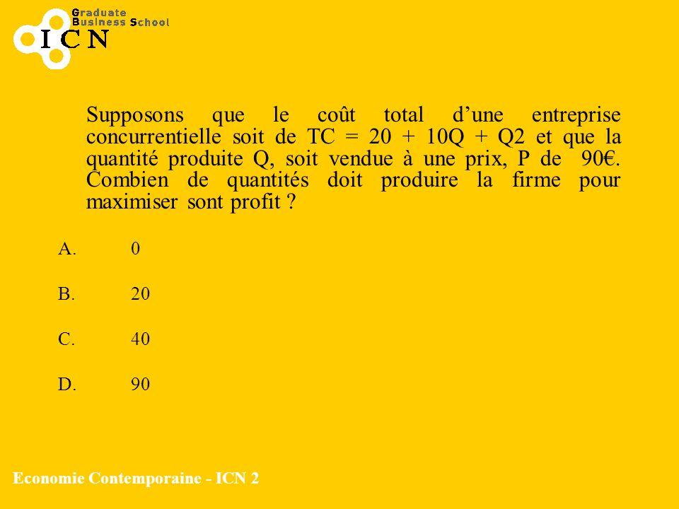 Economie Contemporaine - ICN 2 Supposons que le coût total dune entreprise concurrentielle soit de TC = 20 + 10Q + Q2 et que la quantité produite Q, s