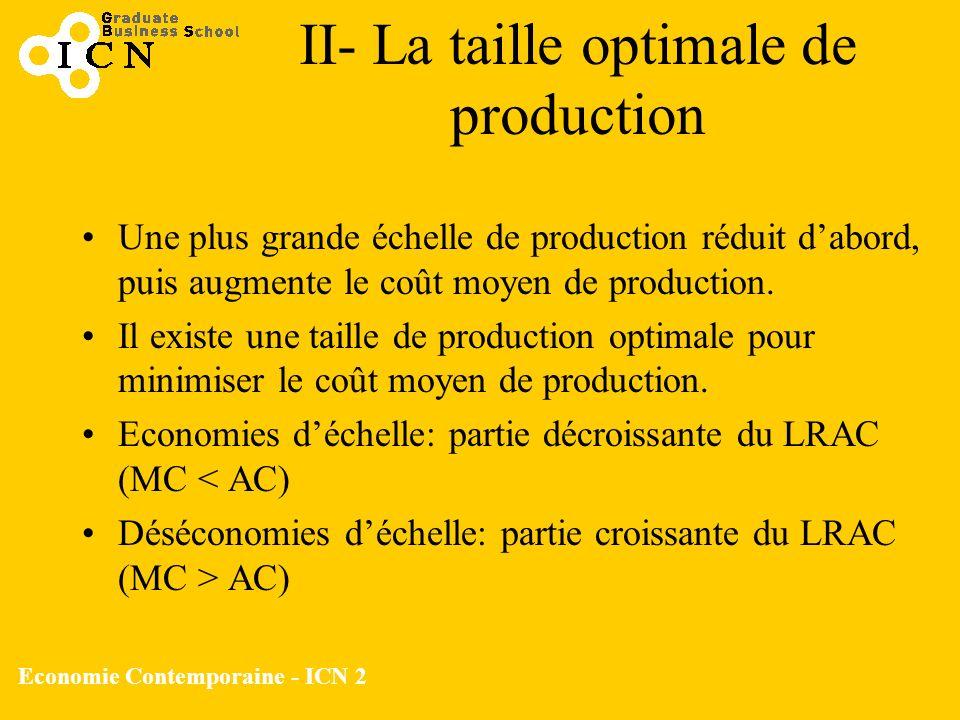 Economie Contemporaine - ICN 2 Une plus grande échelle de production réduit dabord, puis augmente le coût moyen de production. Il existe une taille de