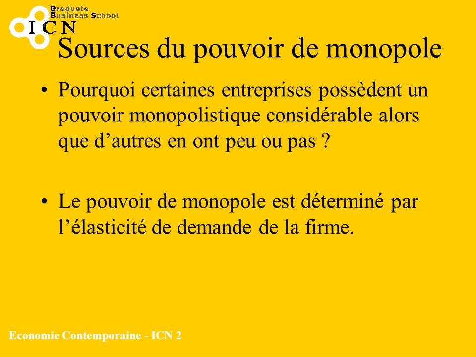 Economie Contemporaine - ICN 2 Sources du pouvoir de monopole Pourquoi certaines entreprises possèdent un pouvoir monopolistique considérable alors qu