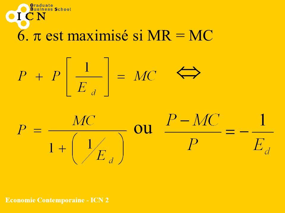 6. est maximisé si MR = MC ou