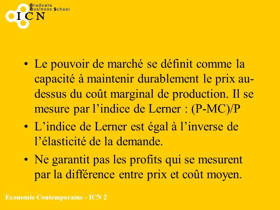 Economie Contemporaine - ICN 2 Le pouvoir de marché se définit comme la capacité à maintenir durablement le prix au- dessus du coût marginal de produc