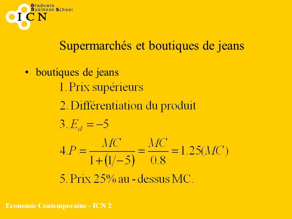 Economie Contemporaine - ICN 2 boutiques de jeans Supermarchés et boutiques de jeans