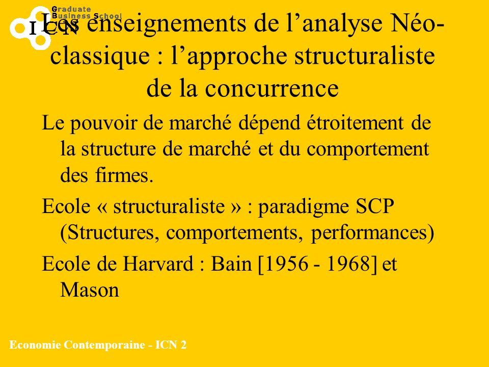 Economie Contemporaine - ICN 2 Les enseignements de lanalyse Néo- classique : lapproche structuraliste de la concurrence Le pouvoir de marché dépend é