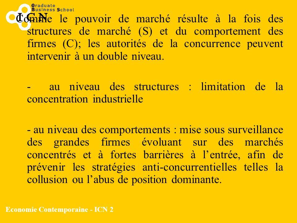 Economie Contemporaine - ICN 2 Comme le pouvoir de marché résulte à la fois des structures de marché (S) et du comportement des firmes (C); les autori