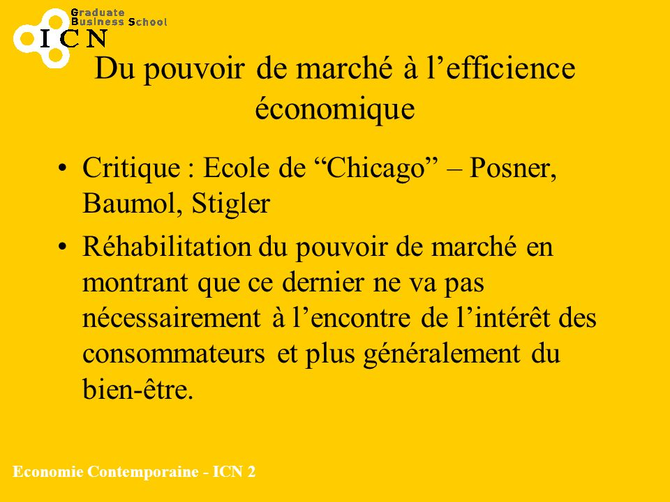 Economie Contemporaine - ICN 2 Du pouvoir de marché à lefficience économique Critique : Ecole de Chicago – Posner, Baumol, Stigler Réhabilitation du p