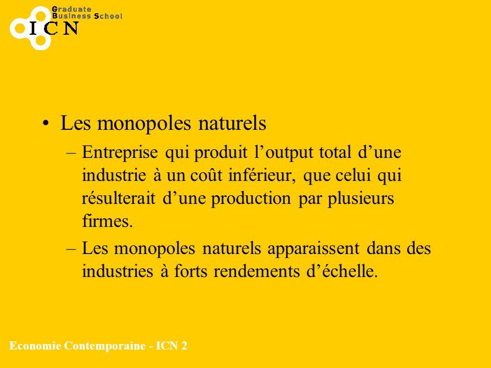 Economie Contemporaine - ICN 2 Les monopoles naturels –Entreprise qui produit loutput total dune industrie à un coût inférieur, que celui qui résulter