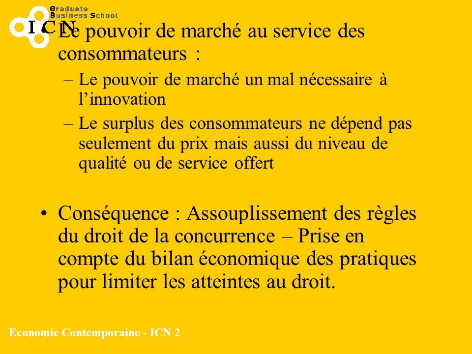 Economie Contemporaine - ICN 2 Le pouvoir de marché au service des consommateurs : –Le pouvoir de marché un mal nécessaire à linnovation –Le surplus d
