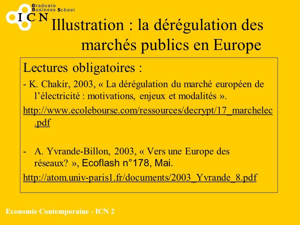 Economie Contemporaine - ICN 2 Illustration : la dérégulation des marchés publics en Europe Lectures obligatoires : - K. Chakir, 2003, « La dérégulati